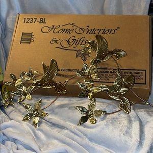 Home Interiors-Vintage Hummingbird Gold Wall Art
